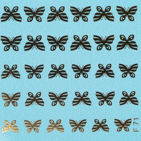 Fashion Slider Butterflies Gold F71